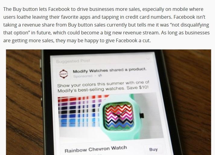 """Cum va arăta butonul """"Buy"""" pe Facebook, captură techcrunch.com"""