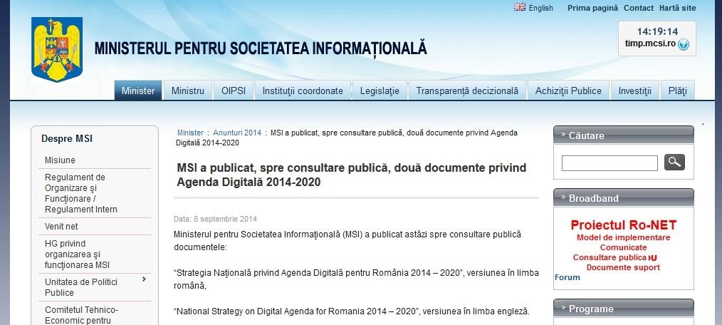 Captură de pe site-ul www.mcsi.ro